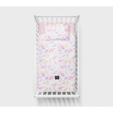 Lullalove - Bawełniana Pościel 100x135 cm Różowe Paprocie