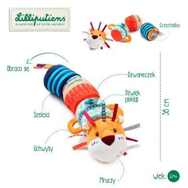 Lilliputiens - Pluszowy Wałek Dźwiękowy 4-elementowy Lew Jack 6m+