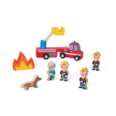 Janod - Kolekcja Story Zestaw Drewniany 8 Elementów Strażacy