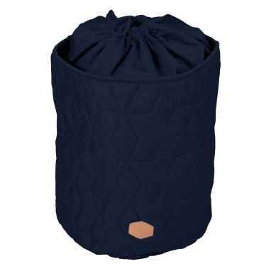 Filibabba - Zamykany pojemnik materiałowy na zabawki Pikowany Dark Blue