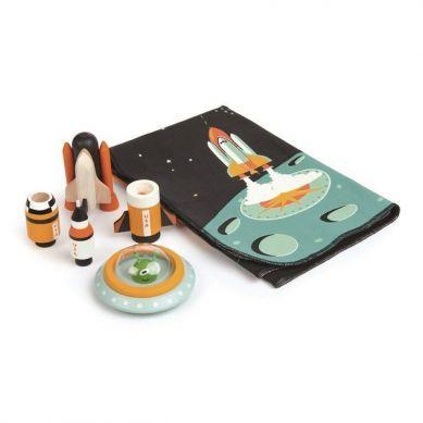 Tender Leaf Toys - Mata z Kosmicznymi Drewnianymi Elementami Przygoda w Kosmosie 3+