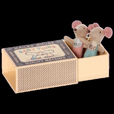 Maileg - Myszki Baby Twins w Pudełeczku