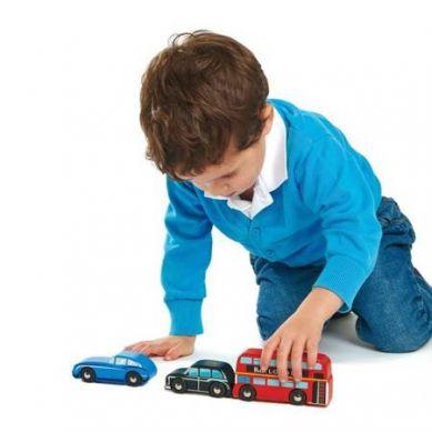 Tender Leaf Toys - Drewniane Samochody Londyn 3szt 3+