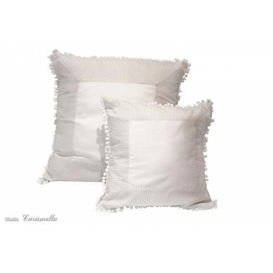 Caramella - Duża Poduszka Biało-beżowa