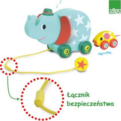 Vilac - Muzyczna Zabawka do Ciągnięcia Słoń i Mysz