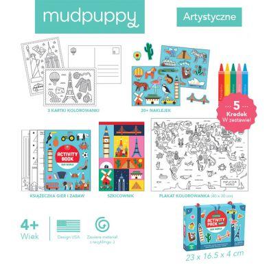 Mudpuppy - Zestaw Kreatywny Naklejki, Malowanki, Łamigłówki z 5 Kredkami Nasz Świat
