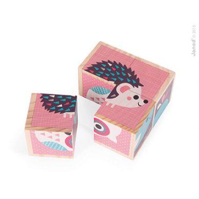 Janod - Klocki Drewniane Puzzle 6w1 Zwierzątka
