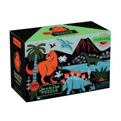 Mudpuppy - Puzzle Świecące w Ciemności Dinozaury 100 Elementów
