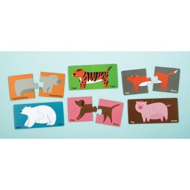 Mudpuppy - Dwujęzyczne Puzzle ze Zwierzątkami do Nauki Pierwszych Słów Angielski/Hiszpański