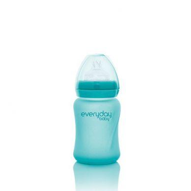 Everyday Baby - Szklana Butelka ze Smoczkiem S Reagująca na Temperaturę 150 ml Turkusowa