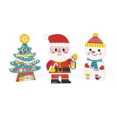 Janod - Magnetyczne Klocki 3D Święty Mikołaj i Przyjaciele