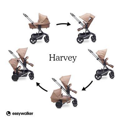 Easywalker - Harvey Wózek Głęboko-spacerowy Coal Black (zawiera stelaż, siedzisko z budką i pałąkiem)