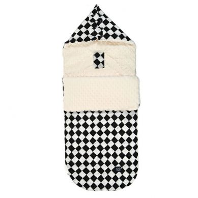 """La Millou - Śpiworek """"M"""" do Wózka Premium Follow Me Chessboard Ecru"""