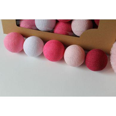 Cottonove Love - Lampka z Bawełnianych Kul 20szt. Sweet Pink