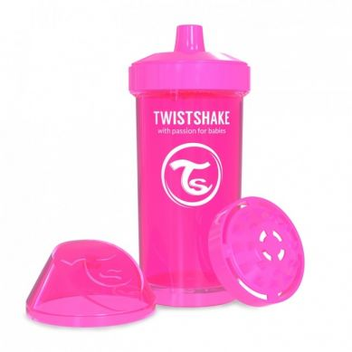 Twistshake - Kubek Niekapek z Mikserem do Owoców 360ml Różowy