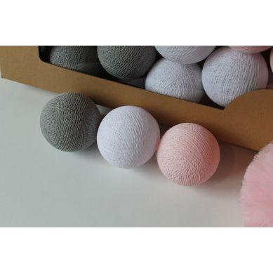 Cottonove Love - Lampka z Bawełnianych Kul 50szt. Soft Powder