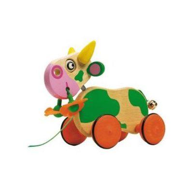 Djeco - Zabawka do Ciągnięcia Krówka Zielona