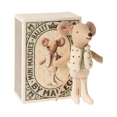 Maileg - Myszka Dancer in matchbox, Little brother mouse