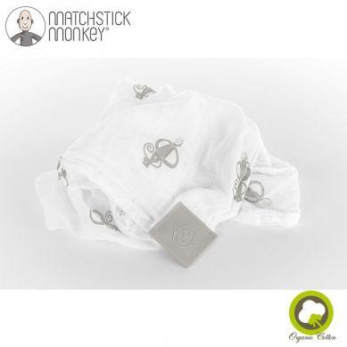 Matchstick Monkey - Organiczny Otulacz z Silikonową Wstawką Gryzakową Swaddle Grey 2szt 120x120cm