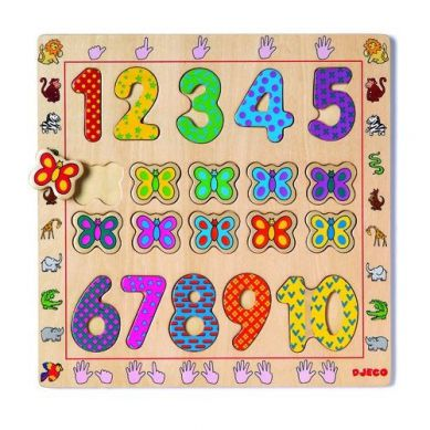 Djeco - Drewniane Puzzle Cyferki
