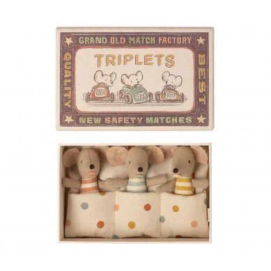 Maileg - Myszki Baby Triplets, Baby mice in matchbox