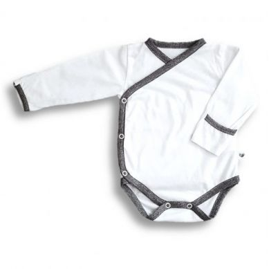 Nanaf Organic - Bambusowe Body Kimono z Długim Rękawem Biało-Szare 68 cm