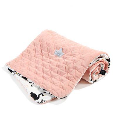 La Millou - Kocyk Narzutka Przedszkolaka Slim Moonlight Swan Powder Pink 110x140cm
