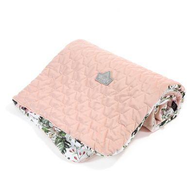 La Millou - Kocyk Narzutka Przedszkolaka Velvet Collection Wild Blossom Powder Pink