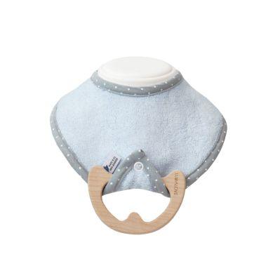 Lullalove - Śliniak z Drewnianym Gryzakiem SuperPRO Baby Eco Blue