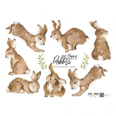 Dekornik - Zestaw Naklejek Ściennych Happy Rabbits Wonderland