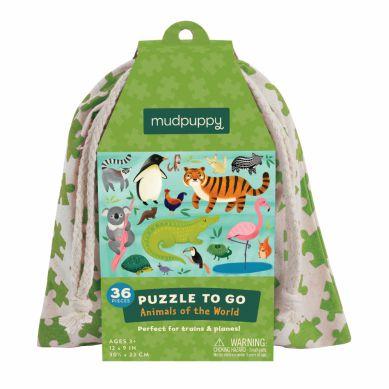Mudpuppy - Puzzle w Woreczku 36el. Zwierzęta Świata