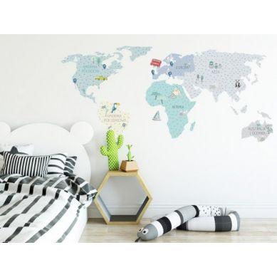 Pastelowelove - Naklejka na Ścianę Mapa Miętowa M 140x70 cm