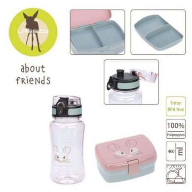 Lassig - Zestaw na Lunch Lunchbox + Tritanowa Butelka - Bidon 460 ml About Friends Szynszyla