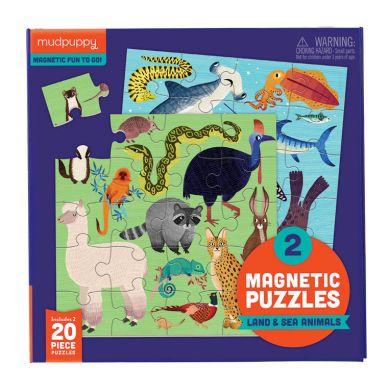 Mudpuppy - Puzzle Magnetyczne Zwierzęta Lądowe i Wodne