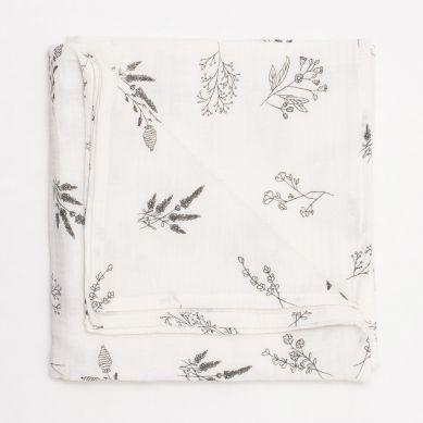 Bim Bla - Otulacz muślinowy Botanical Ecru 100x100cm