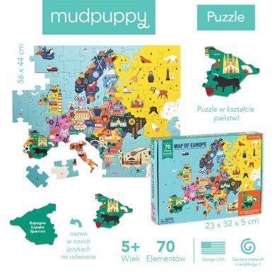Mudpuppy - Puzzle Mapa Europy z Elementami w Kształcie Państw