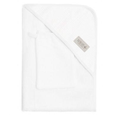 Bamboom - Ręcznik z Kapturkiem + Myjka 100% Bambus Organiczny Biały&Biały