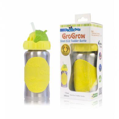 Pacificbaby - Butelka ze Słomką GroGrow 380 ml Silver Yellow