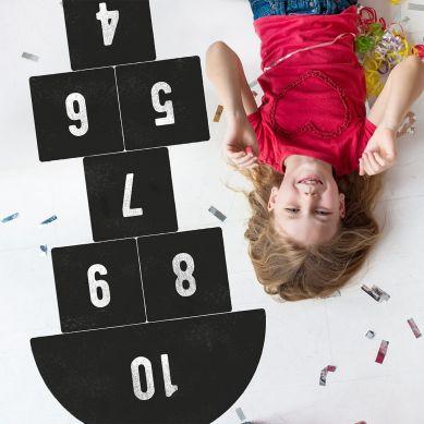 Pastelowelove - Naklejka na Podłogę Gra w Klasy Czarna