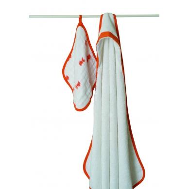 aden + anais Zestaw Ręcznik i Myjka Pomarańczowa Rybka