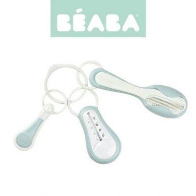 Beaba  Akcesoria do pielęgnacji: termometr do kąpieli, cążki do paznokci, szczoteczka i grzebień Green Blue
