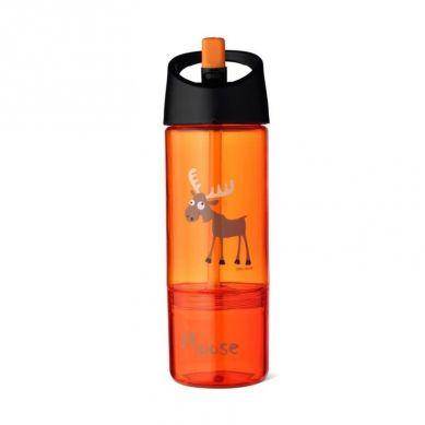Carl Oscar - Kids Bottle Bidon z Pojemnikiem na Przekąski 2w1 Orange Moose