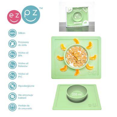 EZPZ - Silikonowa Miseczka z Podkładką 2w1 Happy Bowl Pastelowa Zieleń