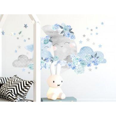 Pastelowelove - Naklejka na Ścianę Księżyc Niebieski