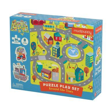 Mudpuppy - Puzzle Zestaw z 8 Figurkami w Mieście
