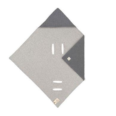 Lassig Dziergany Kocyk z Kapturkiem do Fotelika Niemowlęcego 78 x 78 cm Cozy Home Antracytowy