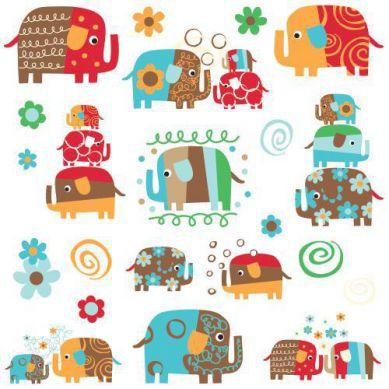 RoomMates - Naklejki Ścienne Wielokrotnego Użytku Kolorowe Słonie