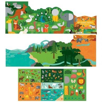 Petit Collage - Naklejki z Planszą Zwierzęta Świata