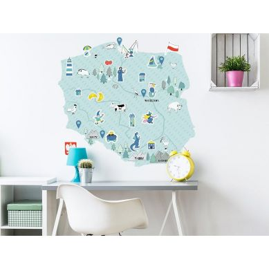 Pastelowelove - Naklejka na Ścianę Mapa Polski Niebieska L 96x90 cm