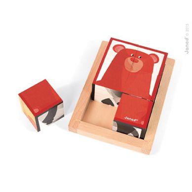 Janod - Klocki Drewniane 6 Elementów Puzzle Baby Forest 18m+